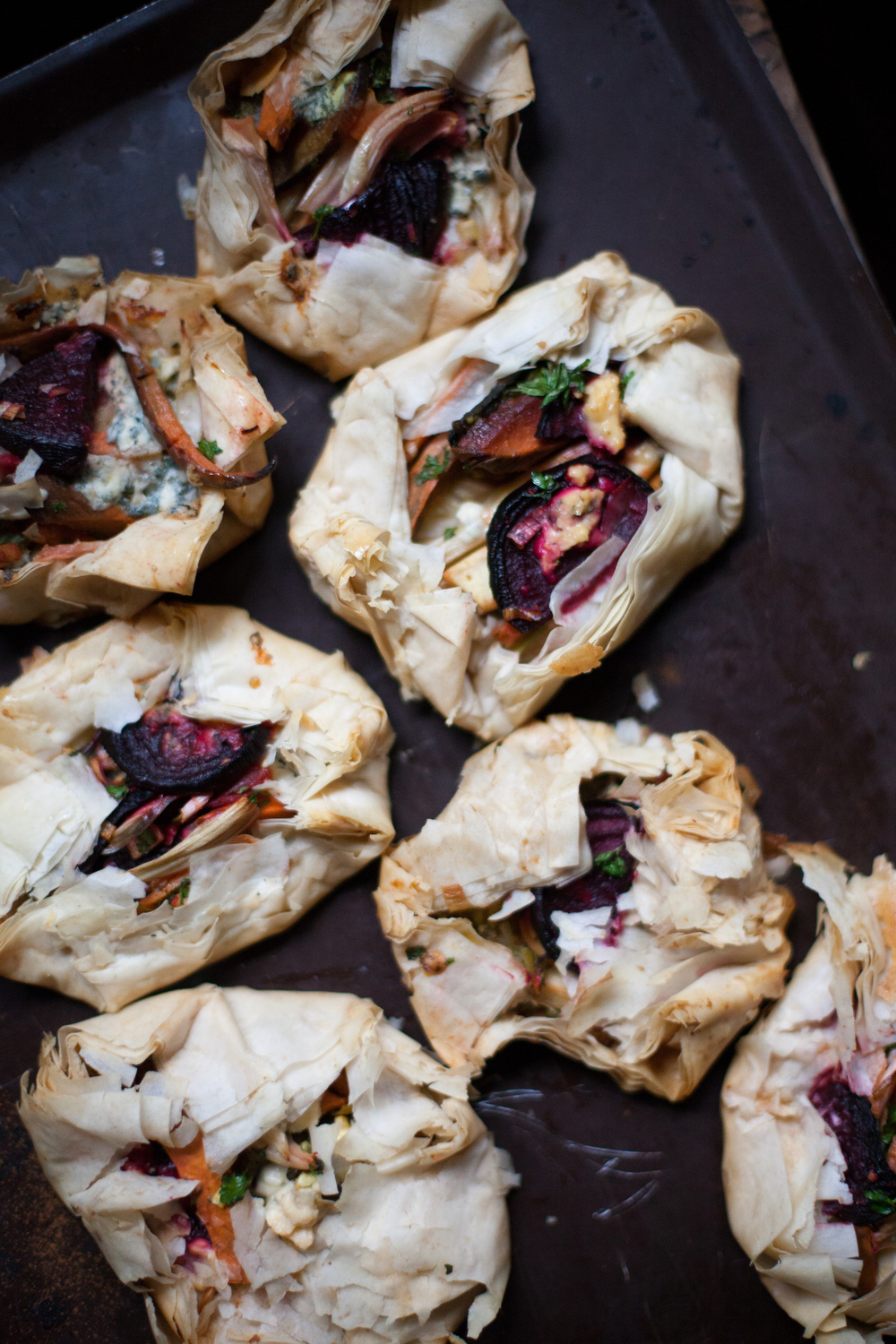 little winter root phyllo galettes with gorgonzola cheese