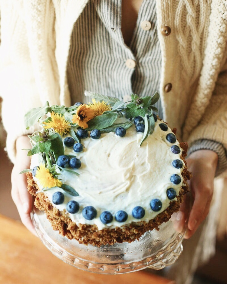 Dandelion Cake with Coconut Icing {vegan}