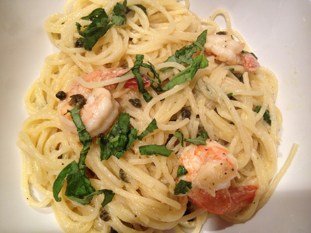 Lemon Spaghetti + Shrimp