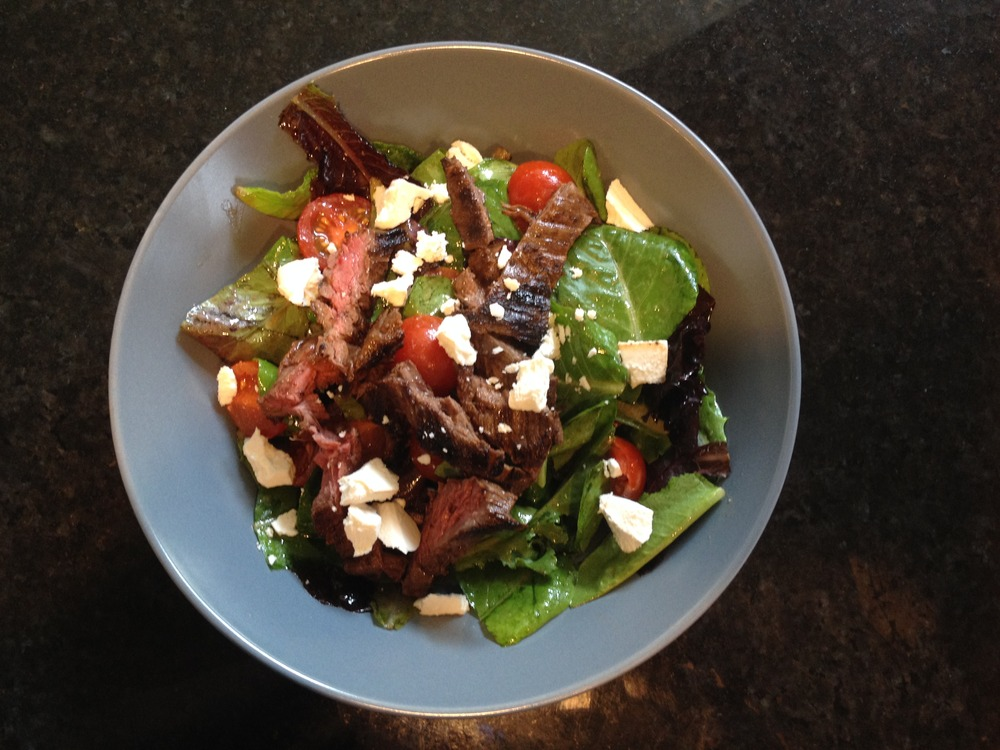 Steak Salad + Grilled Red Onions
