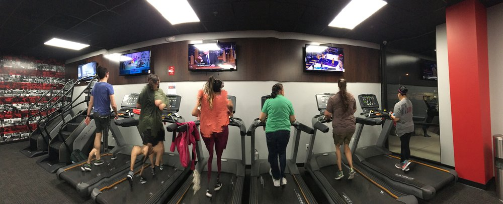 So, no, I don't really know how to take a panoramic picture. Especially when I was bopping up and down on the elliptical. But here are some awesome workout buddies!