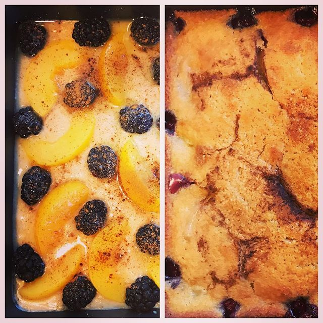 Peach-Blackberry Cobbler. When all you can think of is Marge Simpson's hair when grabbing the blackberries 😝 #cobbler #peach #blackberries #baking #dessert #dessertforbreakfast