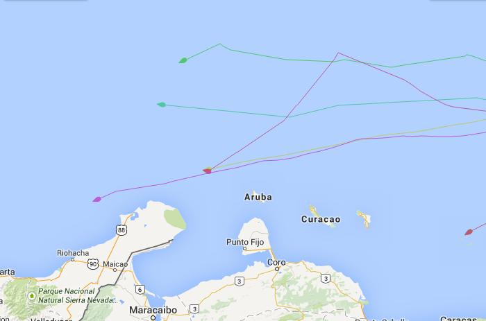 Image from Blue Planet Odyssey tracking site. The yellow line shows Coconut Woman's position as of Jan 24,  00:25 UTC.