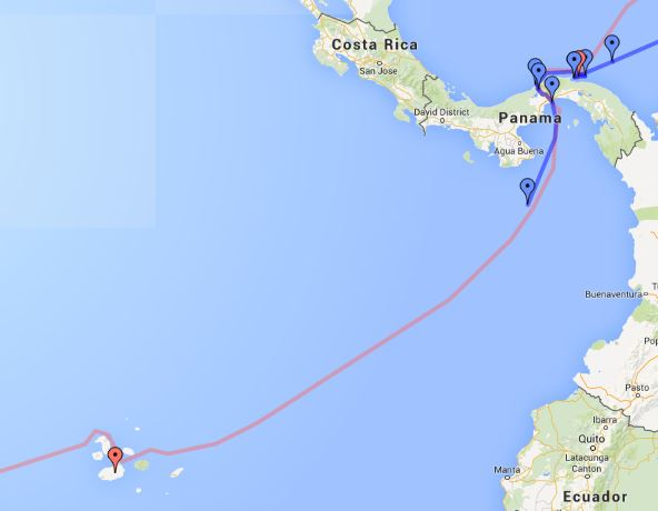 Coconut Woman has begun the crossing from Panama to the Galapagos islands.