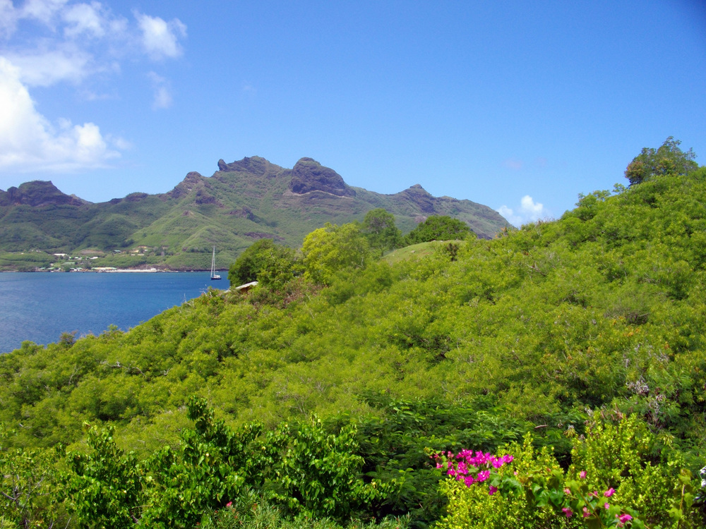 The view the crew woke to after their first night at the Keikahanui Nuku Hiva Pearl Lodge. The hotel sits on the hill above Taioha'e Bay in Nuku Hiva, where the crew decided to anchor due to it's relatively easy approach and calm, sheltered anchorage.