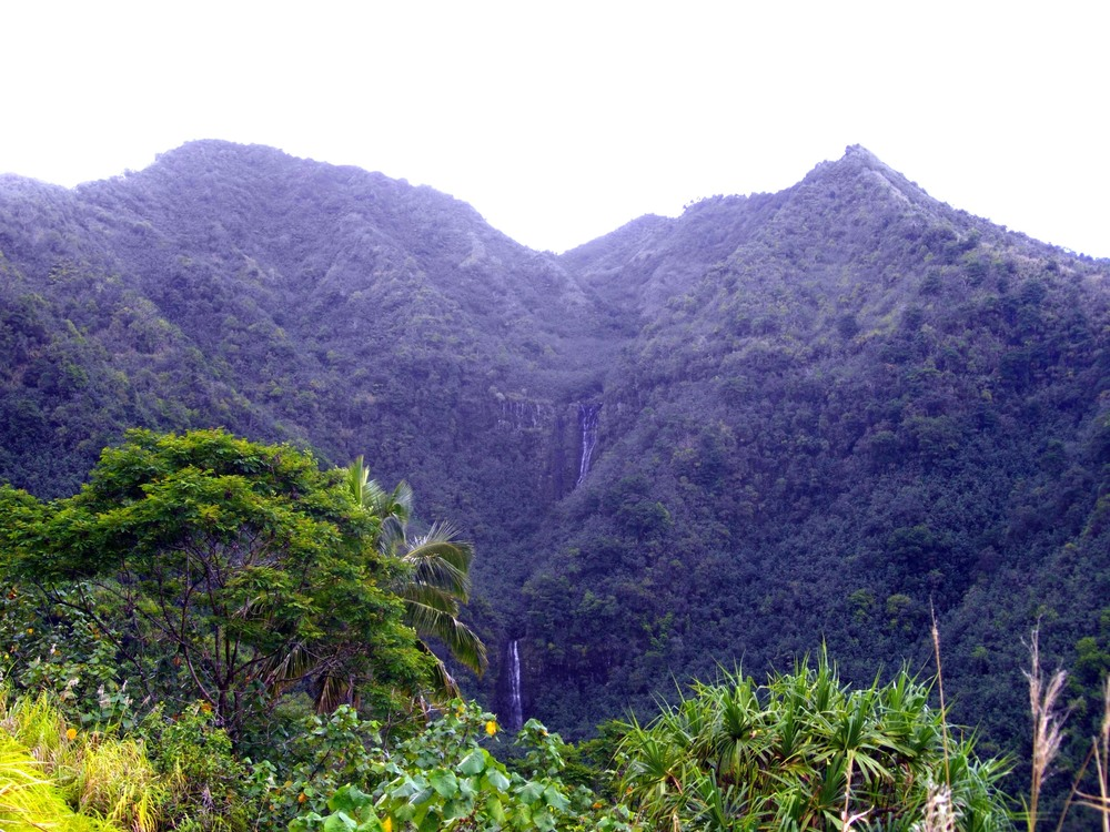 Waterfalls cascade down the beautiful and challenging terrain of Nuku Hiva.