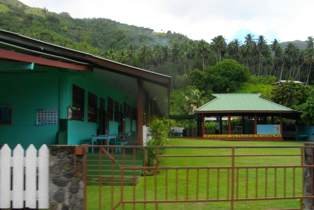 A Nuku Hiva elementary school. Children on Nuku Hiva attend school on the island until high school when they fly to Tahiti for school.