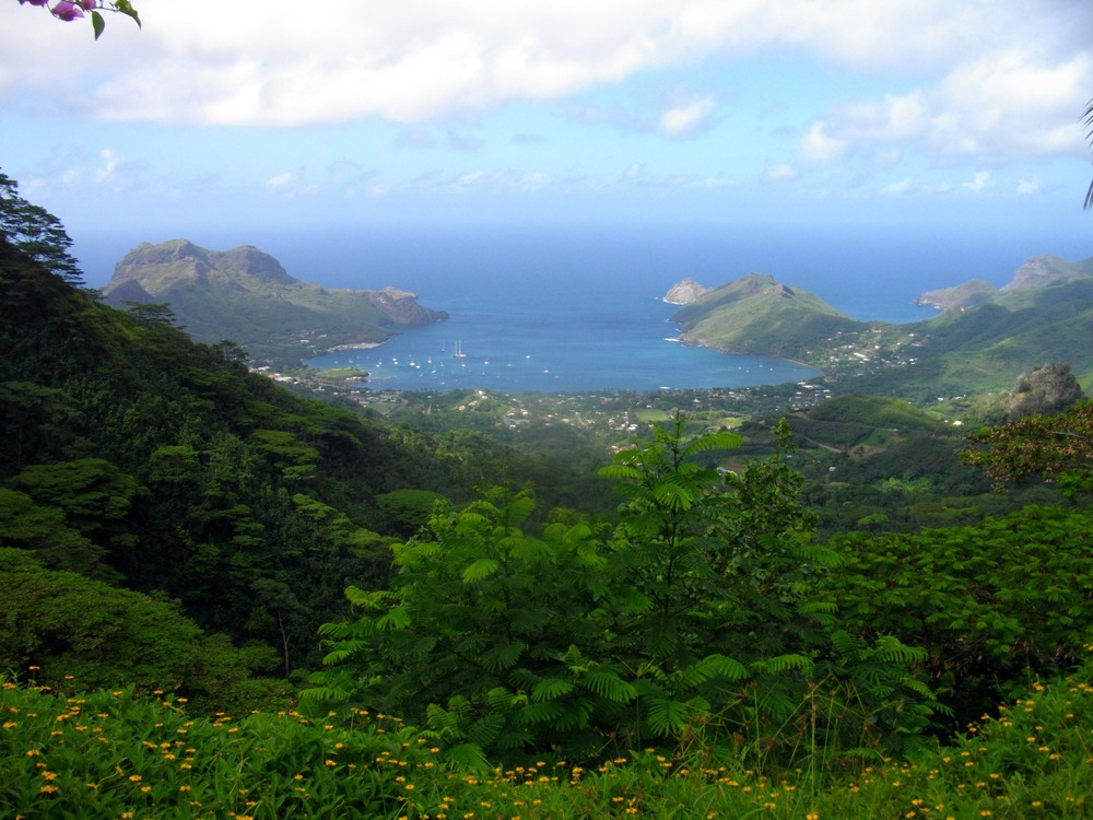 A view from the mountains above Taiohae.