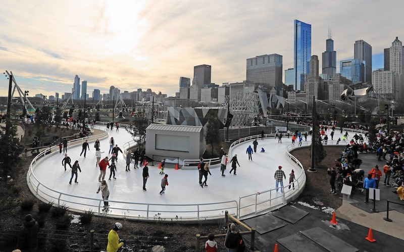 The Maggie Daley Park Ice Ribbon Chicago