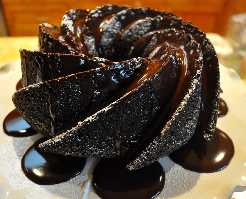 Chocolate Bundt Cake flooded with Chocolate Ganache.  Serves 10 for $35