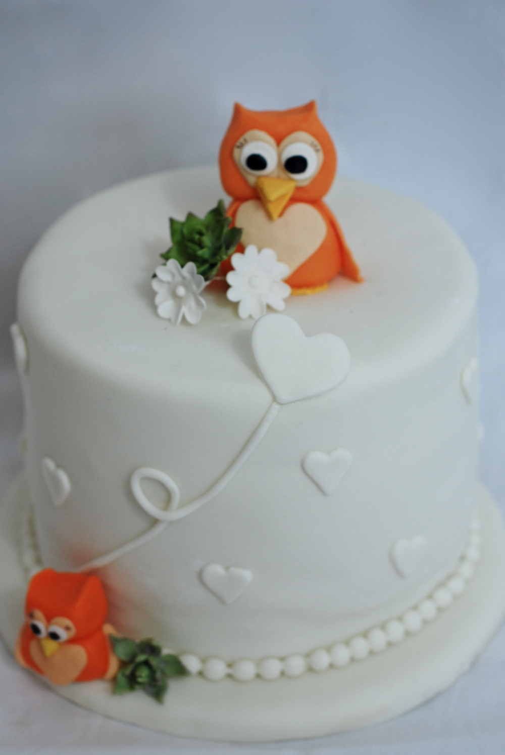 Sweet Fondant Owls and Succulents on this DELICIOUS Pumpkin Spice Cake