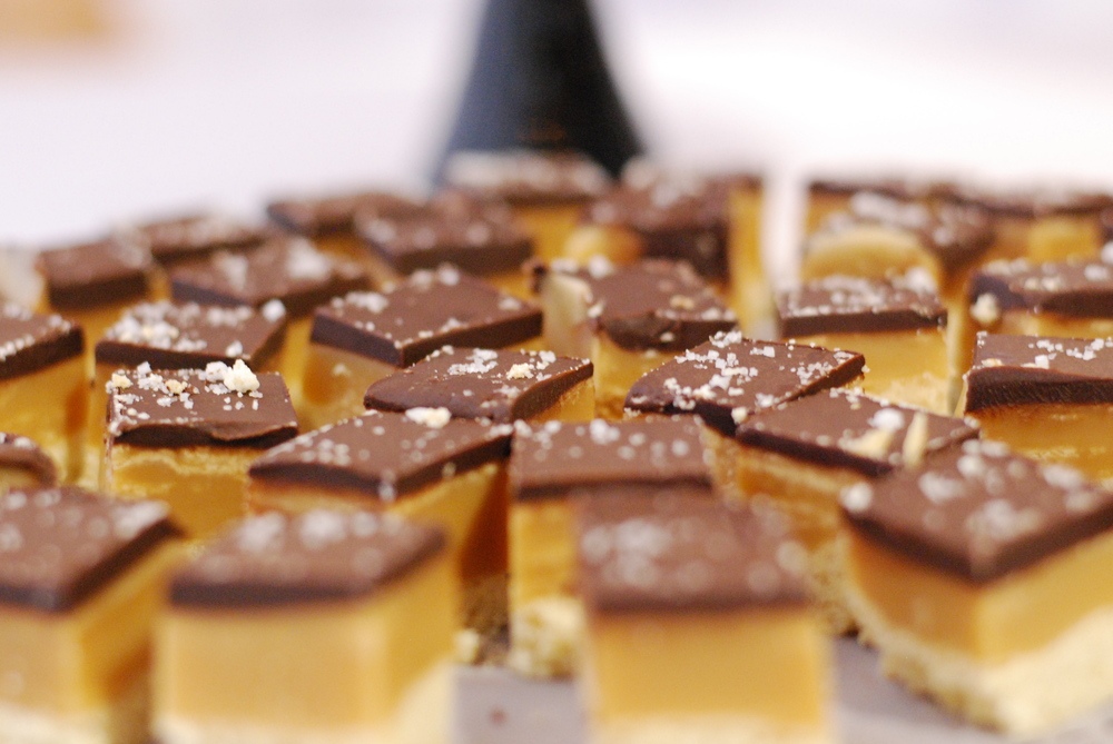 Salted caramel chocolate shortbread bars....always a hit!