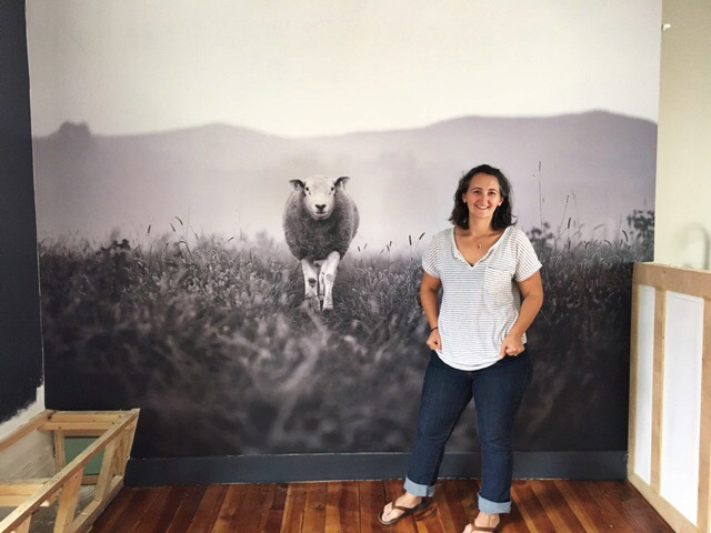 "Me with ""Brian"", our farm's ram and star of the Bar at Field & Main Restaurant in Marshall, Virginia. We printed him 8x10 feet!  http://www.fieldandmainrestaurant.com/"