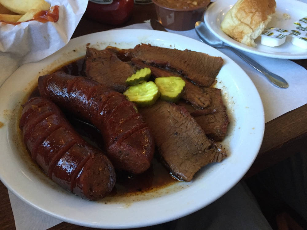 Beef Brisket and Texas Style Hot Links with Baked Beans and French Fries