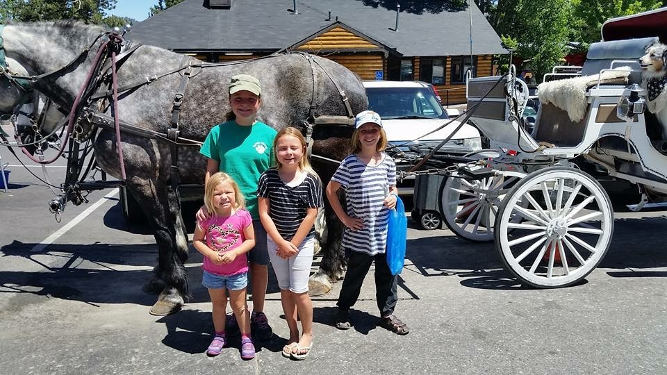 Our friends Aly, Bethany and Emily Kilduff join Holly in posing with the horse-drawn carriage available for hire in The Village.