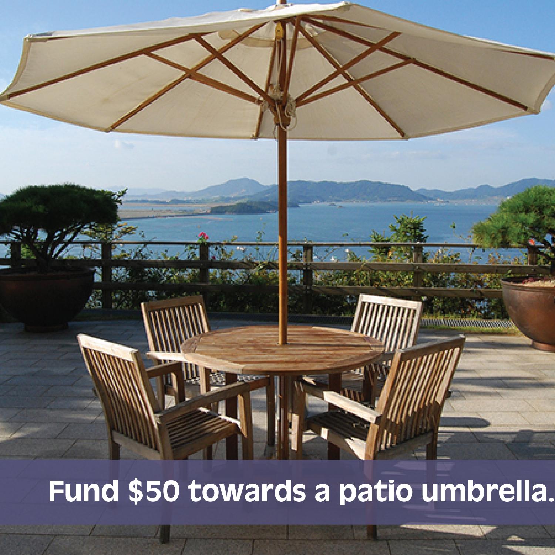 Fund $50 towards a patio umbrella