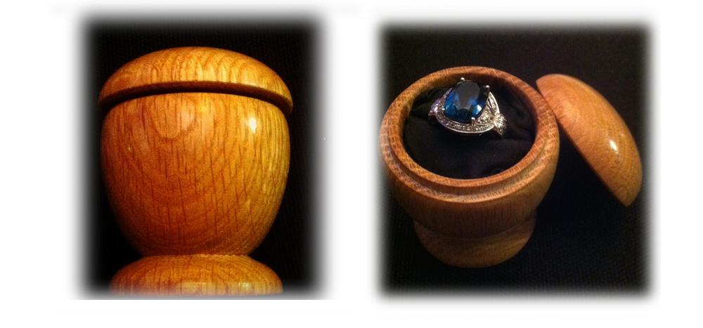Acorn shaped box in oak