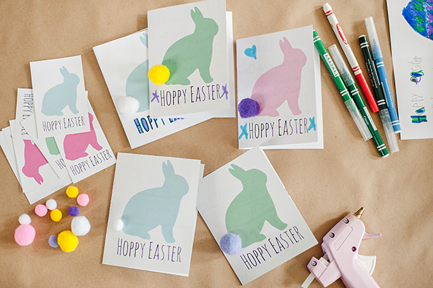 Find these adorable Easter cards and Easter basket tags from Jamie at The Crafting Chicks at thecraftingchicks.com HERE! We printed them on card stock and then attached pom pom bunny tails with hot glue! Very simple and cute!