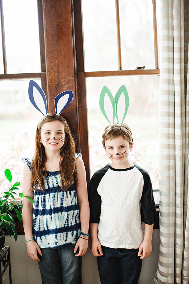 We printed the bunny ears found  HERE  from HGTV on cardstock. We cut them out and then taped them to thin headbands I got at the dollar store.