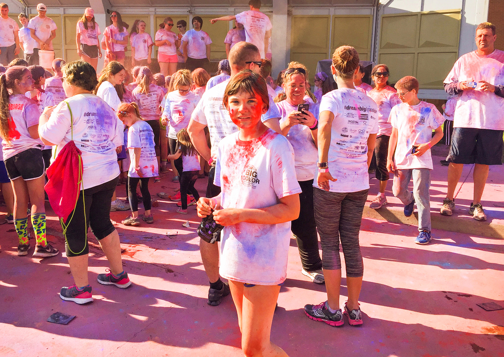 We pulled across the finish to find this sweet surprise, a party with music and MORE color!