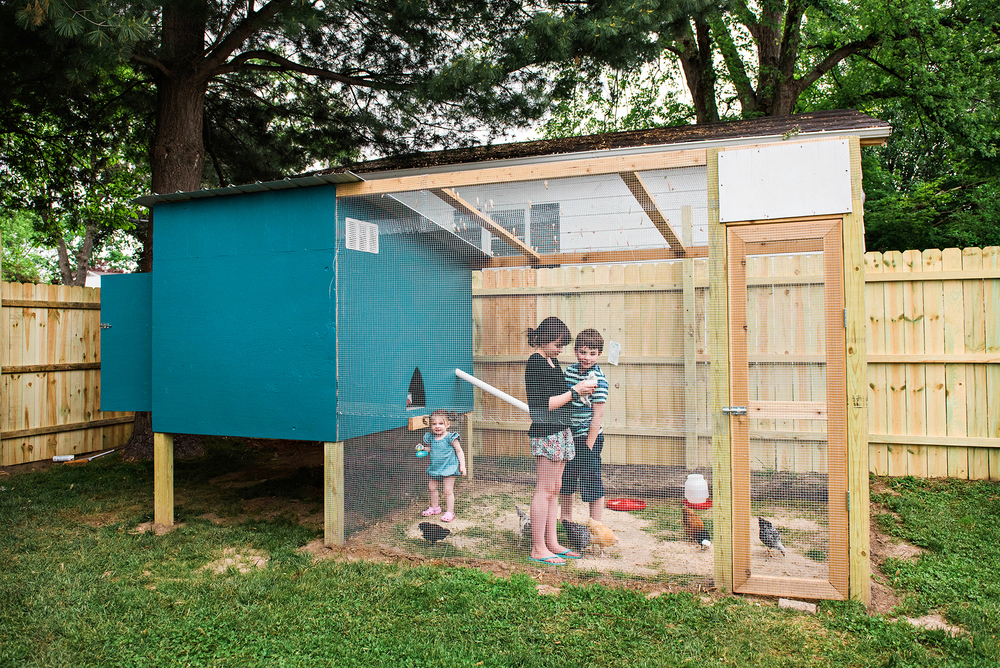 This one-of-a-kind coop was built by my amazingly talented love, Justin! I couldn't believe he was building this. I tell him all the time with how much he comes in handy, I'll probably keep him around a while longer : ) I plan to post our coop plans along with the watering system, on another day!