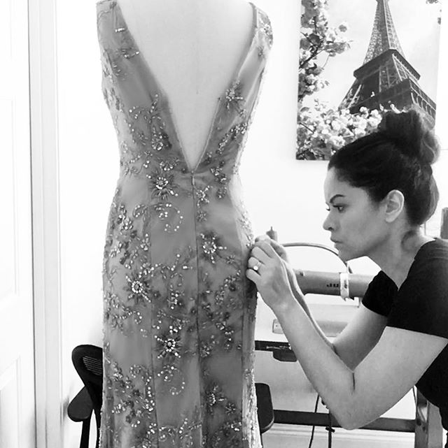 Tightening up a few loose beads 🖤#details #beaded #gown