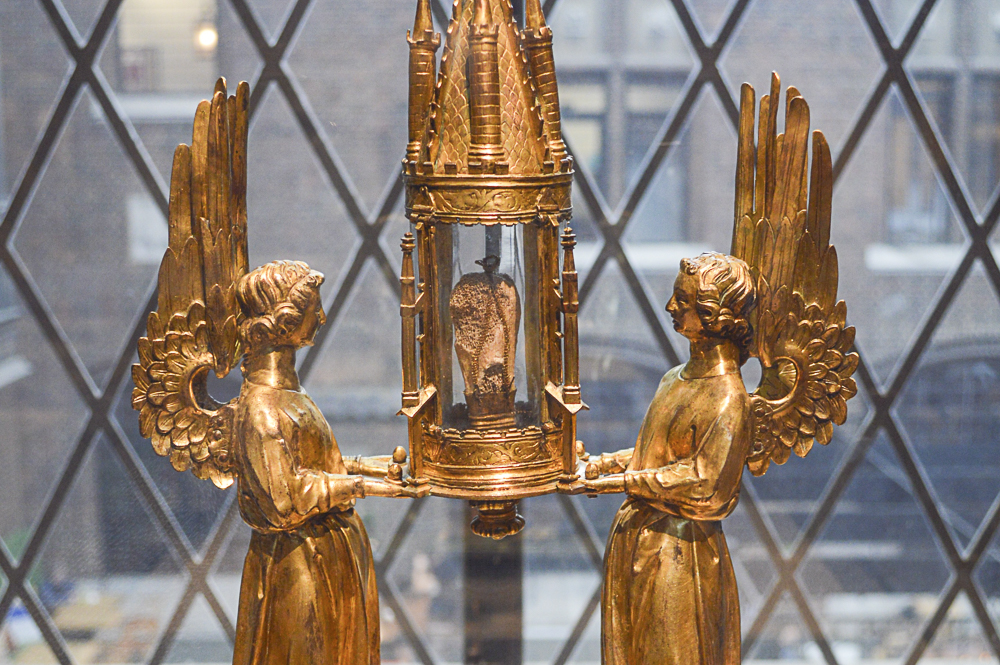 Reliquary, about 1300 (with later additions), Unknown artist, French (probably Paris), gilt copper, rock crystal, enamel