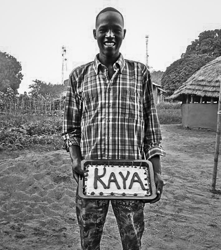 Kaya celebrating his made-up birthday date