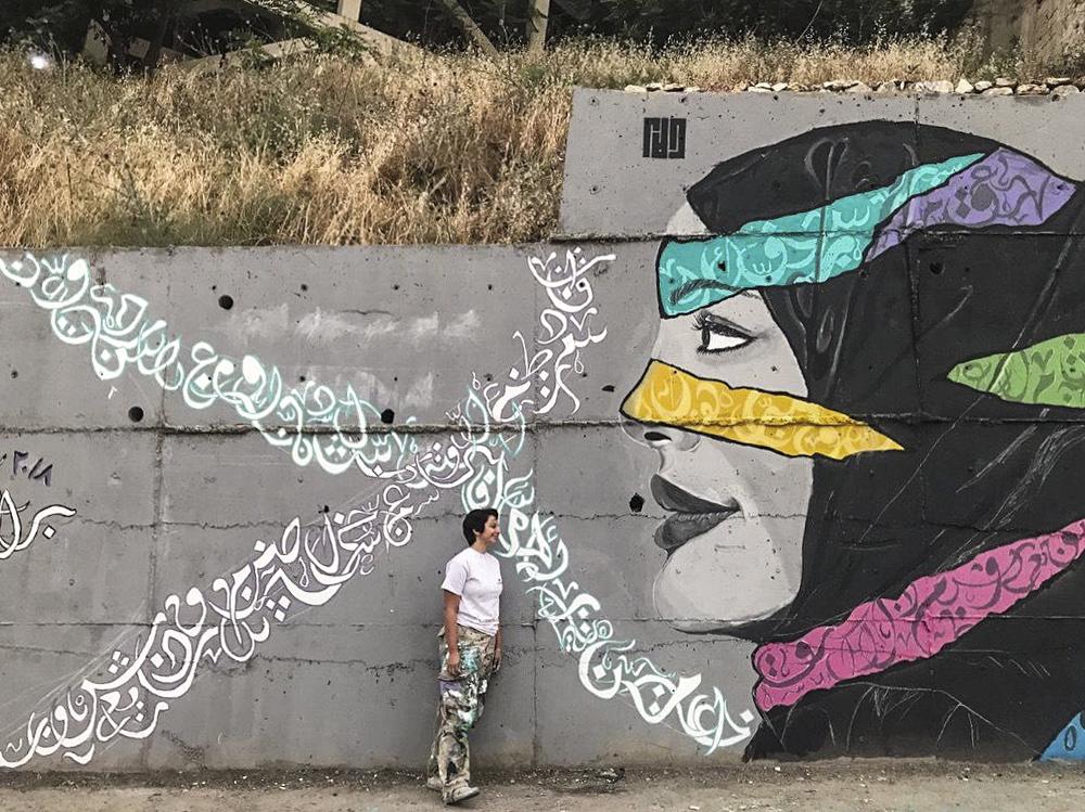 Dalal Mitwally's completed painting Photo by Rakan Shaban