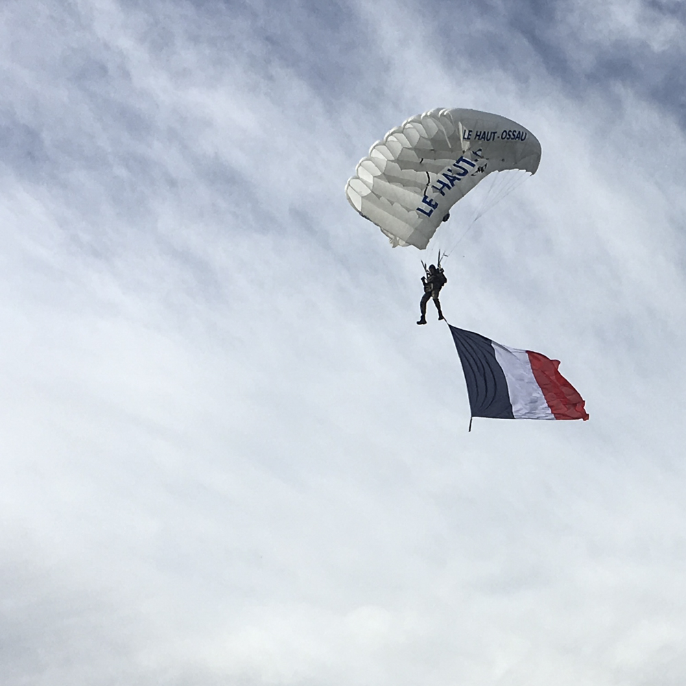"The ""tricolore,"" the French flag, comes in for a landing in Jurançon."