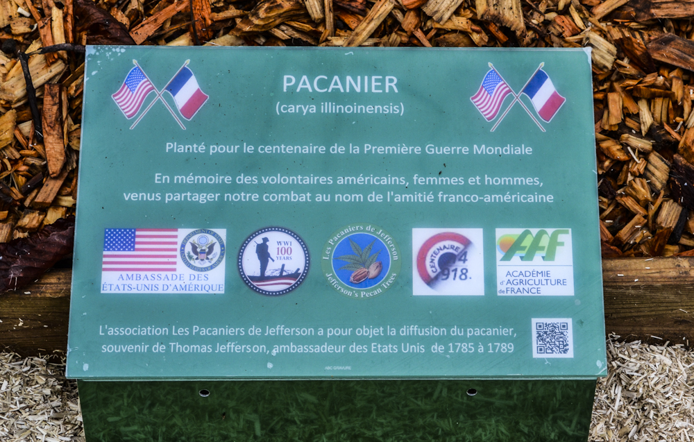 "Commemorative plaque placed with each pecan tree: ""Planted for the 100th anniversary of WWI, in memory of the American volunteers, men and women, who came to share our combat in the name of Franco-American friendship."""