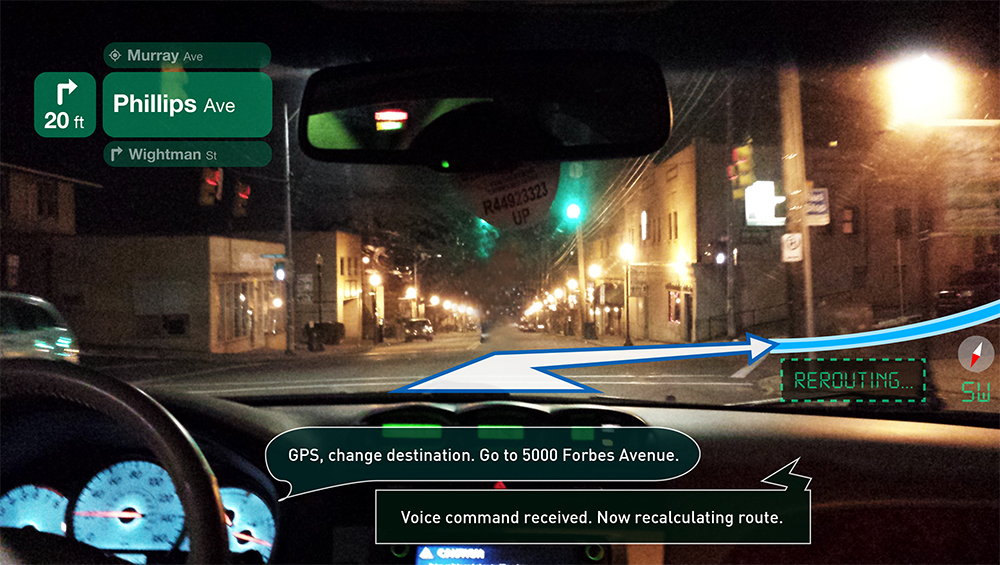 Reality-Augmentation Voice-Controlled Windshield GPS