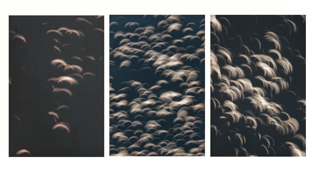 solar eclipse shadows on canvas, triptych no. 1, 2017