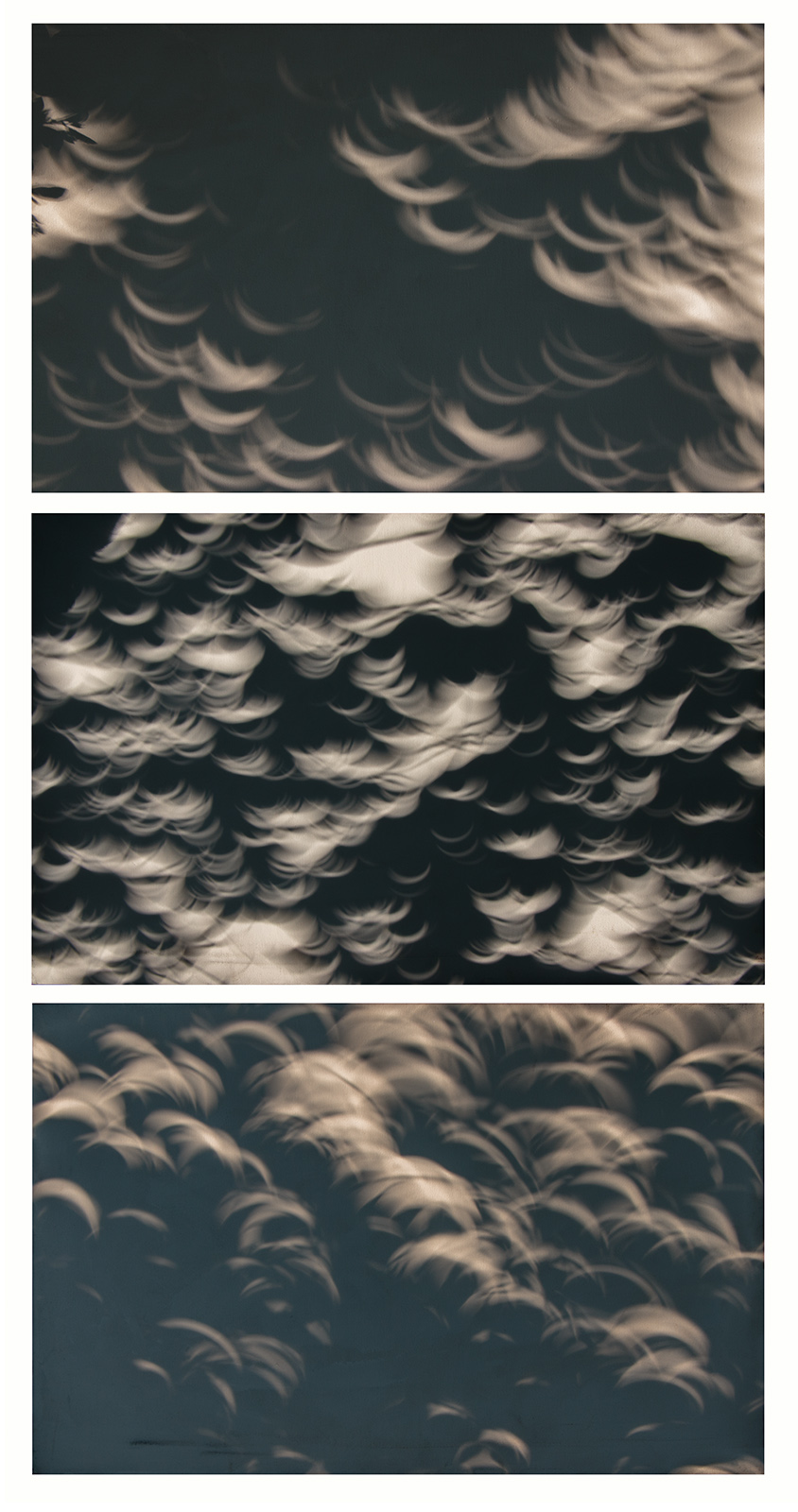 solar eclipse shadows on canvas, triptych no. 2, 2017