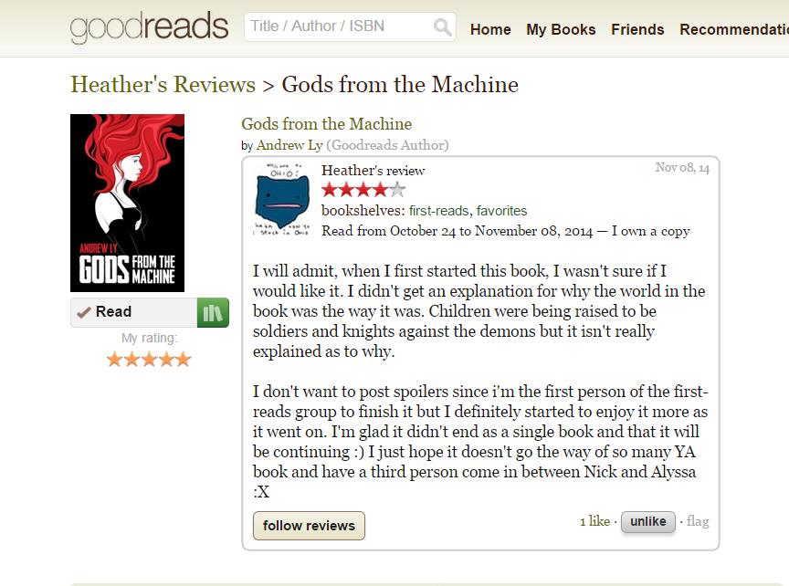 A review of  Gods From the Machine  taken from Good Reads