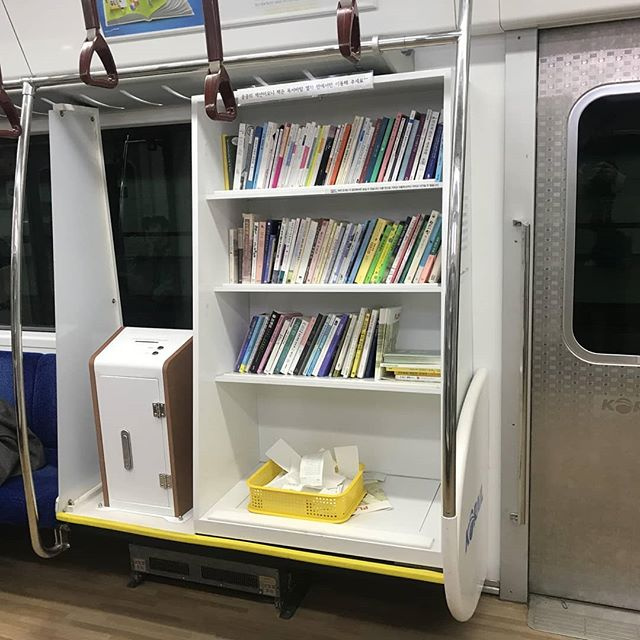 Happy Sunday! Just wanted to share this image that was posted on Reddit by user Yamhillscrub. In Seoul there is a subway car contains a mini library! How cool is that? #sundayshelfie