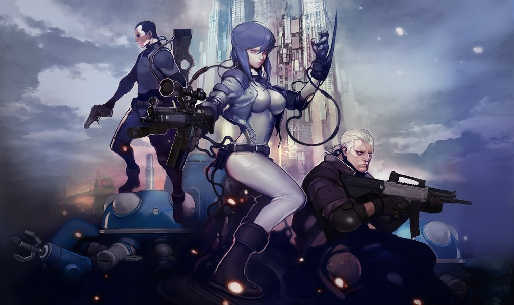 Credit:  Ghost in the Shell , a popular Japanese anime that deals with cyberpunk