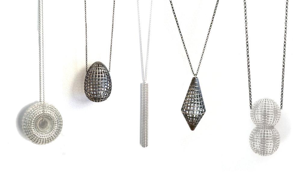 Grid Pendants in Sterling Silver