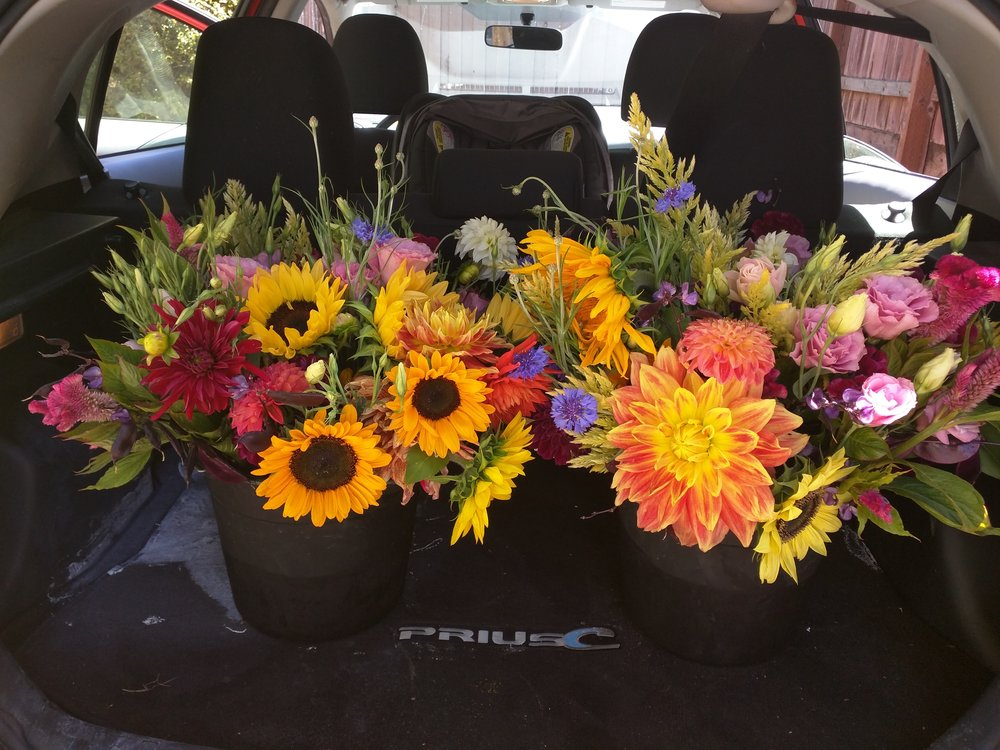 Bouquets made by Bouquet Fairies volunteers on their way to the Ceres Cafe