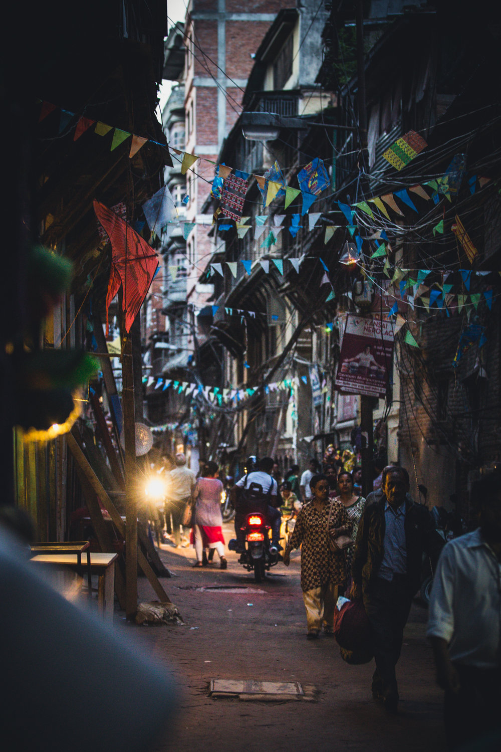 Shared paths through Thamel, Kathmandu.  70mm f2.8 1/50 ISO3200
