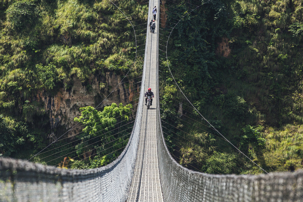 The return trip to Pokhara took us across one of Nepals highest suspension bridges in Kusma. Quite a thrill for a learner rider like myself!   200mm f6.3 1/800 ISO100