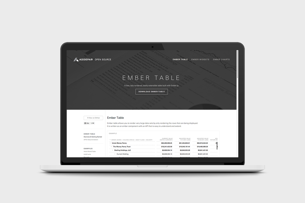 The Ember-Table website.