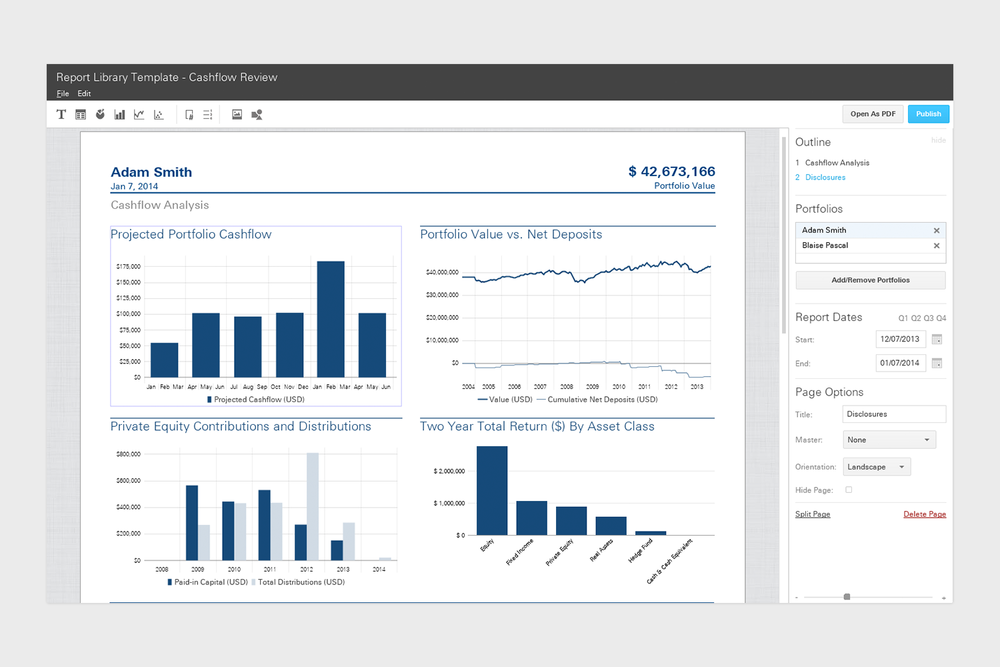 The existing report editor in Addepar's desktop application.
