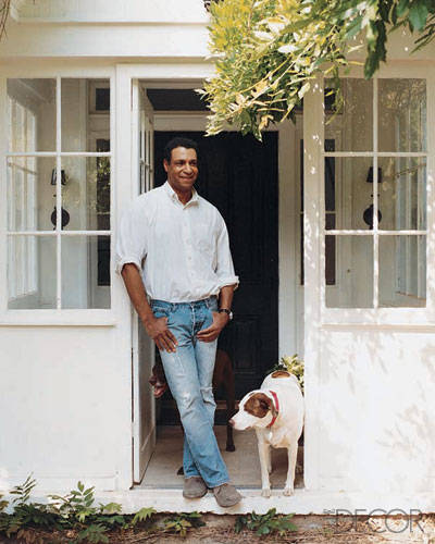 Interior Designer Darryl Carter with his dogs Otis & Lucy.
