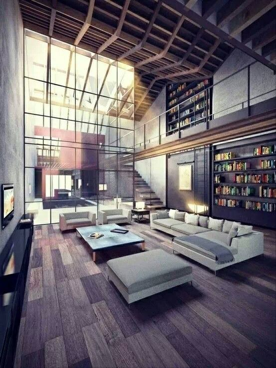 High Ceiling & Floor to Ceiling glass.