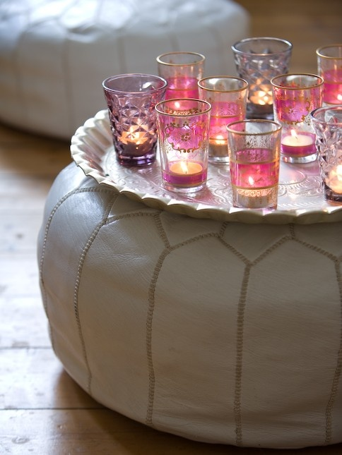 Simply details can make all the difference to your cocktail parties - simply add brightly coloured tea light holders and scented tea lights candles around the room.