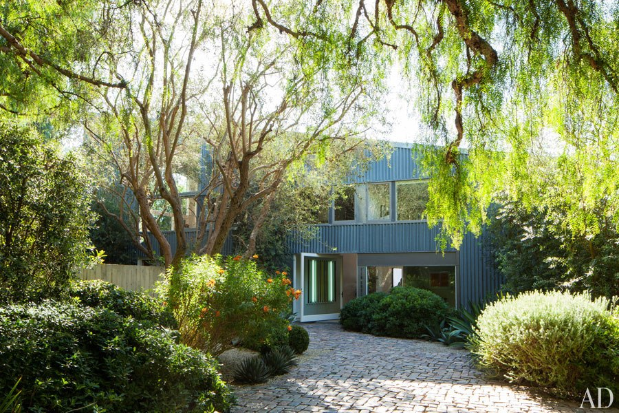 """The Tin House.Olive trees shelter the corrugated-metal building. Named """"Tin House"""" by its previous owners."""