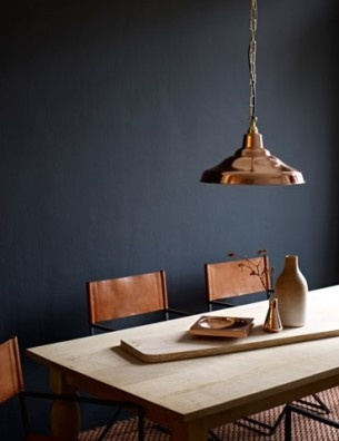 Pendant lighting and furniture against a dark wall- perfect!
