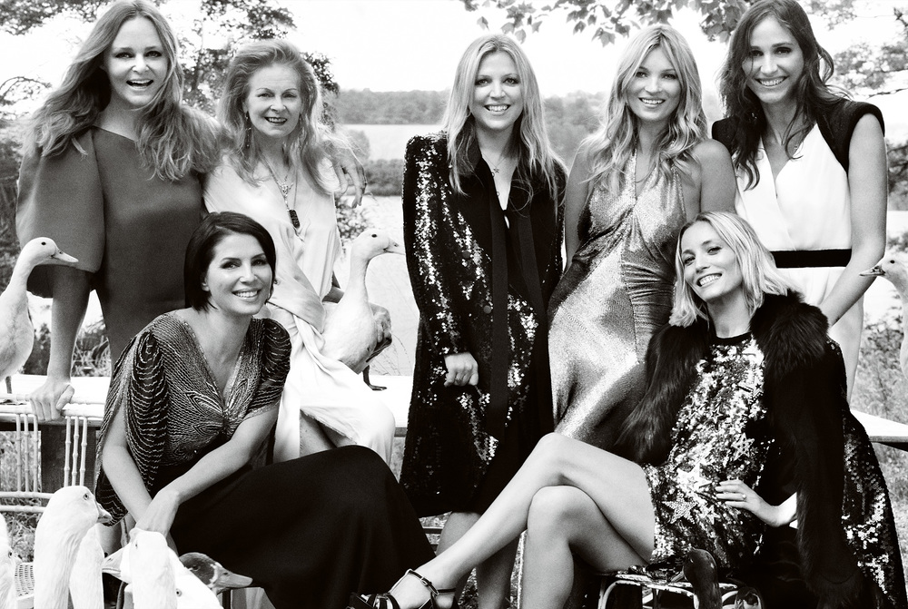 The bride with her matrons of honor. Top row, from left: Stella McCartney, Vivienne Westwood, Jess Hallett, Kate Moss, Rosemary Ferguson.   Bottom row, from left: Sadie Frost, Lucie de la Falaise.
