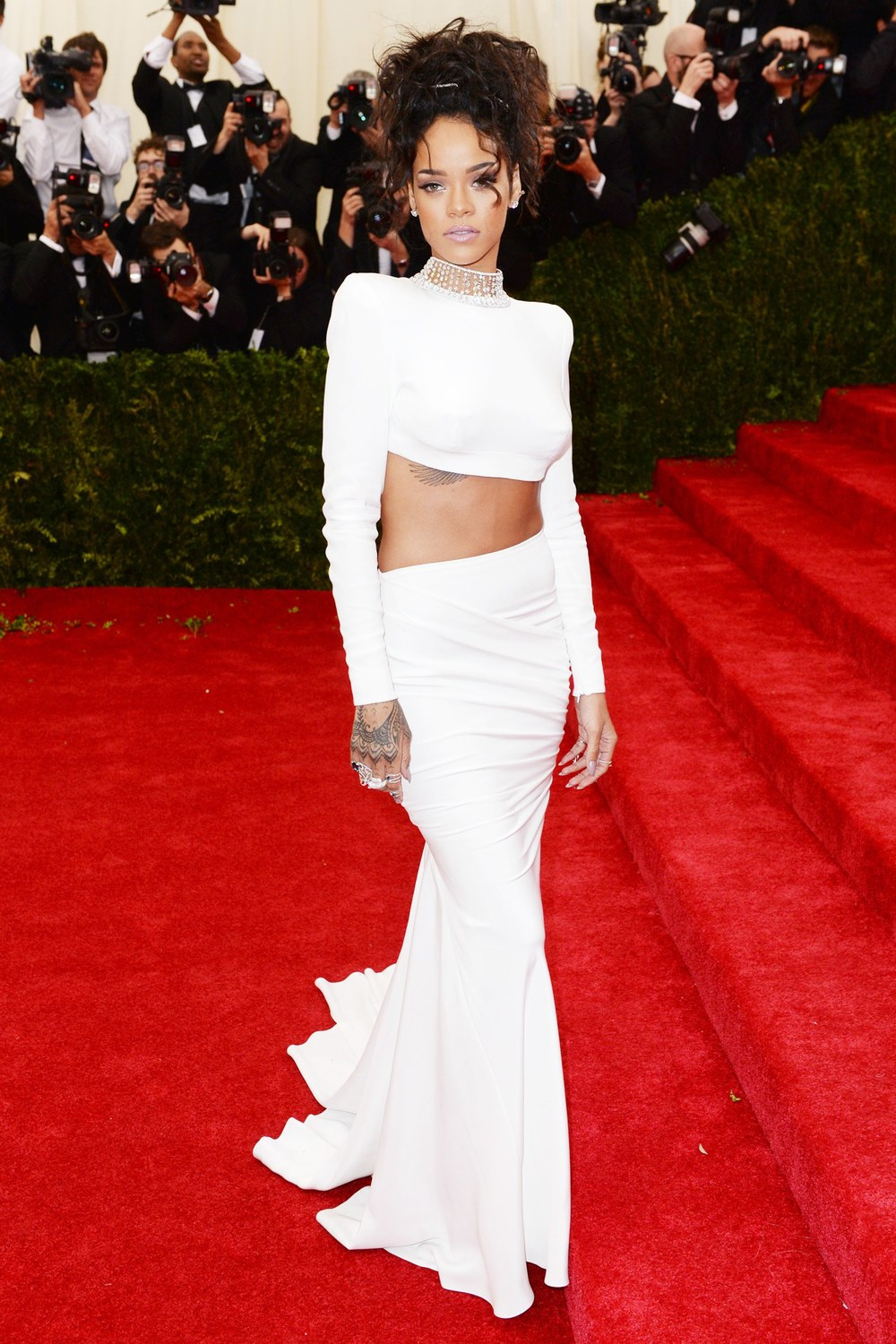 Rihanna wore a custom-made top and skirt by Stella McCartney.